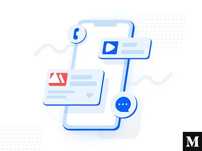 Skewdat landing typography illustration design flat branding app white minimalistic clean ux ui medium article phone app web phone isometric skew blue
