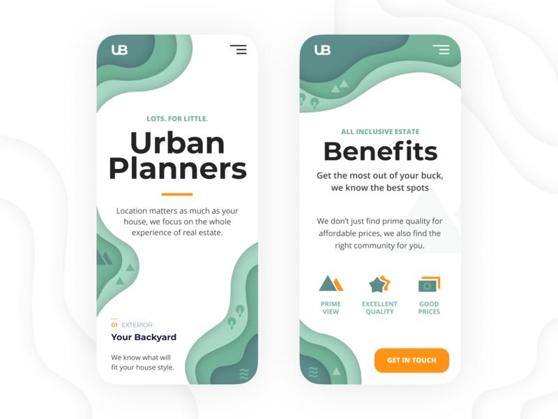 Urban Planners mobile app estate real green responsive mobile flat branding app white minimalistic clean ux ui