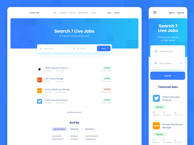 Job Search Platform illustration ui landing white clean minimalistic design listing job board branding web website webdesign wordpress