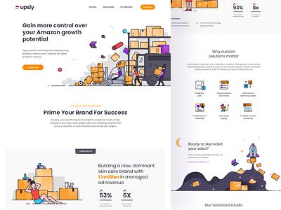 Upsly landing page minimalistic sale sales ecommerce design white branding icon orange illustration websites ui ux website amazon