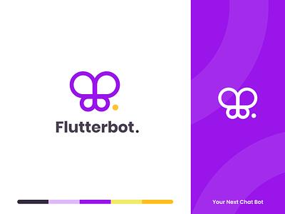 Flutterbot website illustration design minimalistic icon landingpage landing web bot chat branding purple butterfly minimal simple logo