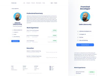 Job Search Platform jobs resume job application software board job minimal web design app white clean ui ux branding minimalistic