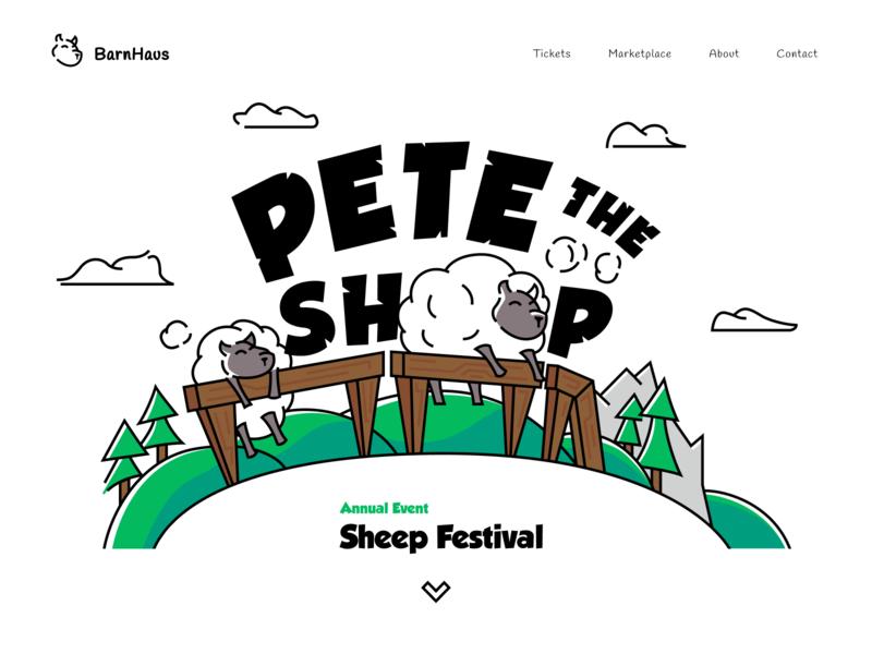 Pete, The Sheep. web white design clean branding minimalistic minimal hero section illustrations green app website page landing illustration hero
