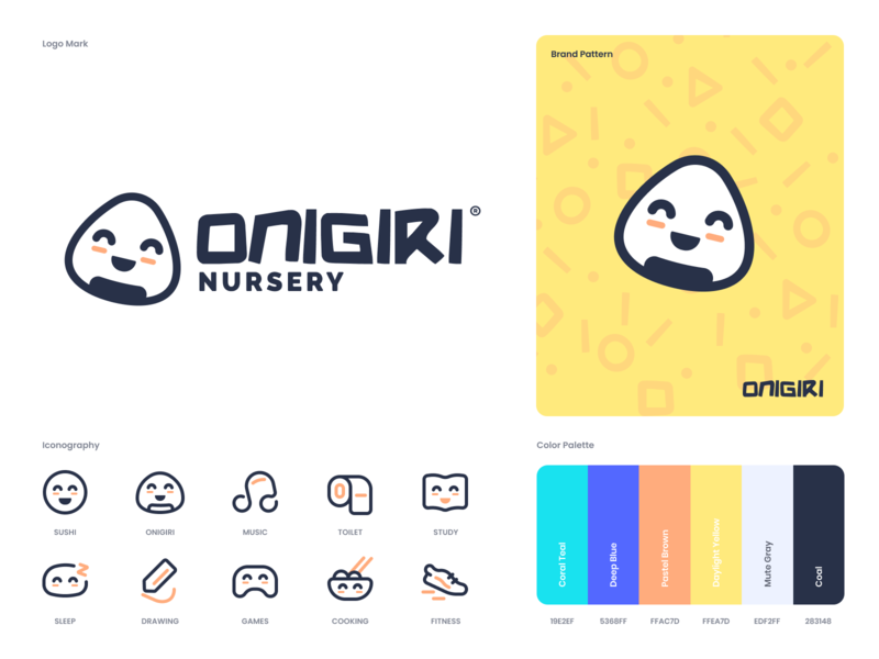 Onigiri Nursery branding and identity yellow clean color typography illustration minimalistic ui ux white design logo brand branding minimal