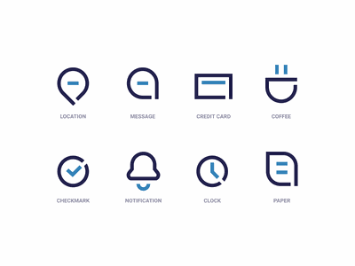 Office Icons design web brand branding design clean logo illustration black blue minimalistic minimal modern branding iconography icon office