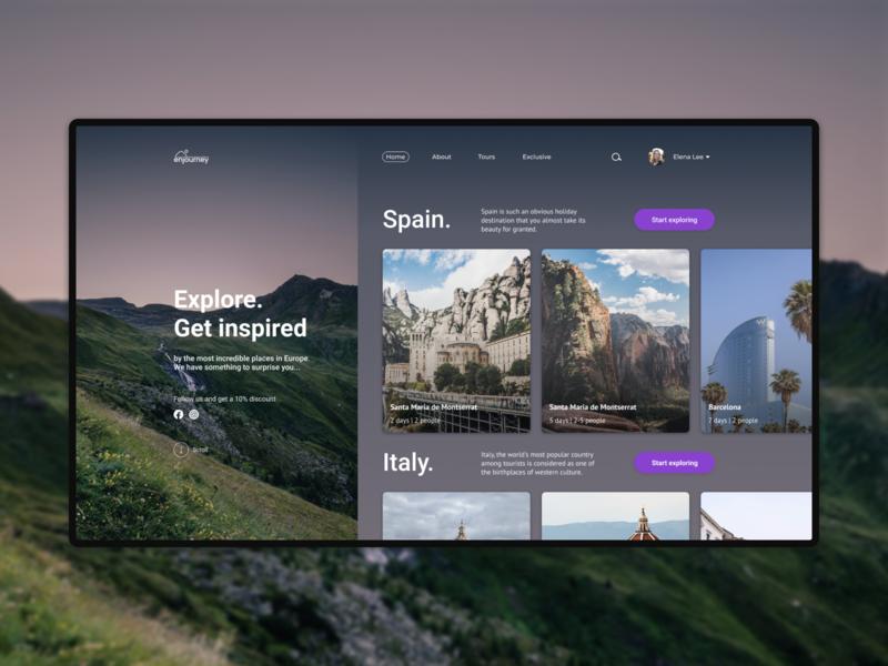 Enjourney Website home page web minimalistic nature journey travel web design website ui design ux