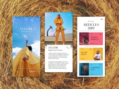 Fashion Blog App font app design calligraphy article yellow iphone app design fashion ux design mobileappdesign ui iphone mobile app
