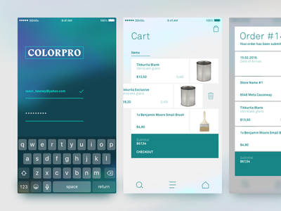 COLORPRO - iOS UI brush order cart shop store ios paint color