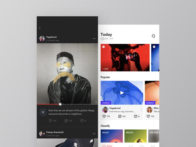 Video app color today ui mobile ios app design video music
