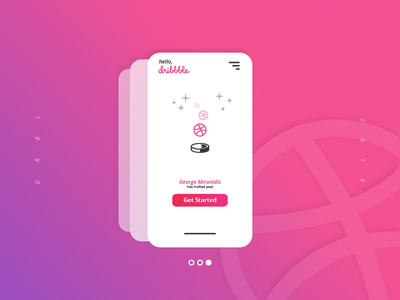Hello Dribbble! ui card purple magenta pink ball start dribbble hello debut