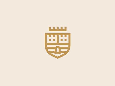 Castle hometown tower chateau river crown minimal logo design minimalist logo flat crest castle logo
