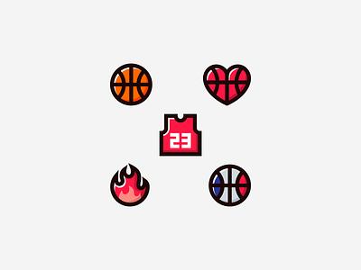 Basketball Icons rucker park streetball application flat minimal concept logo design app logo fire balls jordan hoops bball basketball court basketball