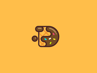 Dipped belgian chocolate belgian waffle sweet chocolate cookie typography design logo minimal flat d letter d icon chocolate cookie