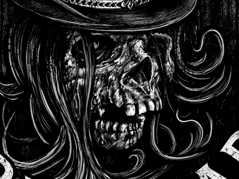 Haunted House VIP T-shirt Illustration black and white top hat demon monster skeleton t-shirt haunted house illustration