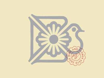 modern bird mark logo illustration bird logo vintage modernism bird flower geometry branding