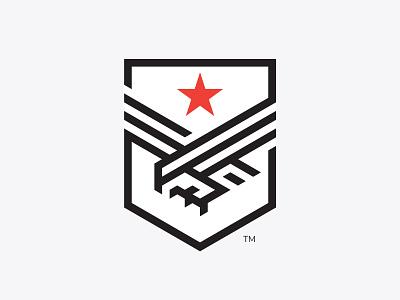 Eagle and shield mark shield eagle modernism bird logo modern vintage bird geometry symbol logo