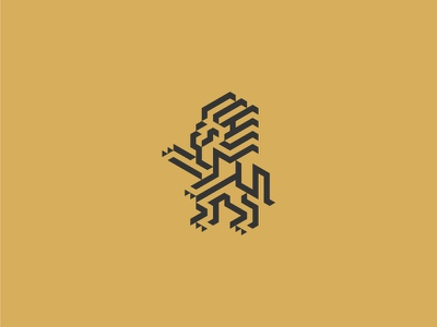 Lion mark heraldus geometry logo symbol mark lion