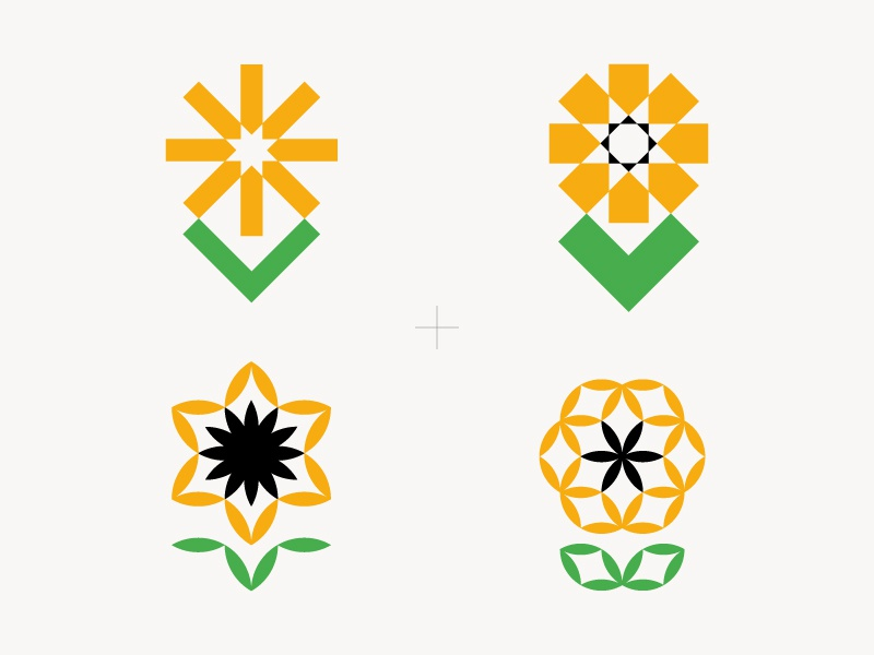 Sunflower symbol mark green yellow sunflower flower illustration sun
