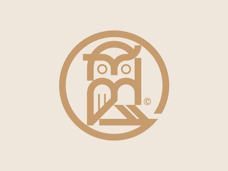Owl geometric vintage bird logo modern bird animal mark