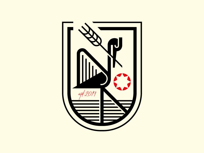 Heron branding logo bird logo vintage bird geometry animal crest modern heron