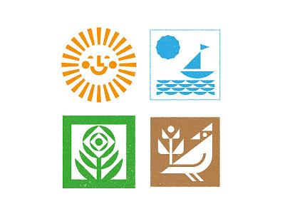 summer set sea sun flower bird icon set icon summertime