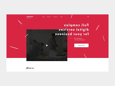 Concept digital agency webstudio ux ui studio site landing interface design red agancy