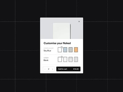 mishmash® — Customizer stationery mishmash significa ui ux notebook ecommerce modal cart customization