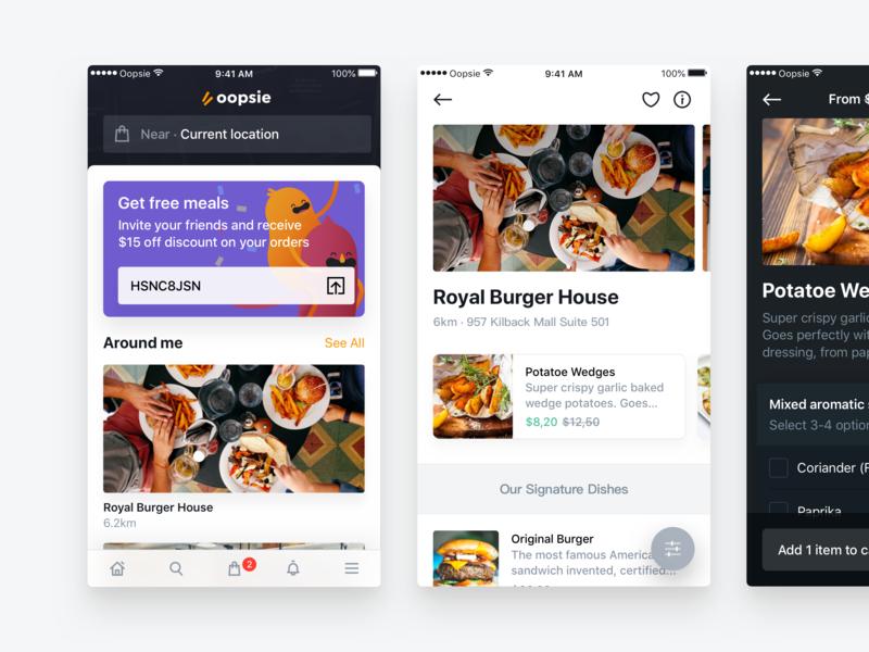 Oopsie — Home & Restaurant android ios mobile app food restaurant oopsie significa ui ux ui