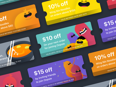 Oopsie — Coupons oopsie purple yellow orange significa promotion coupon restaurant food mobile ios android