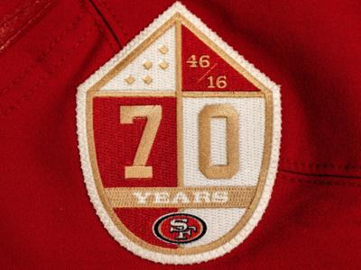 49ers 70th anniversary patch design college 49ers bay baseball area sports branding logo football