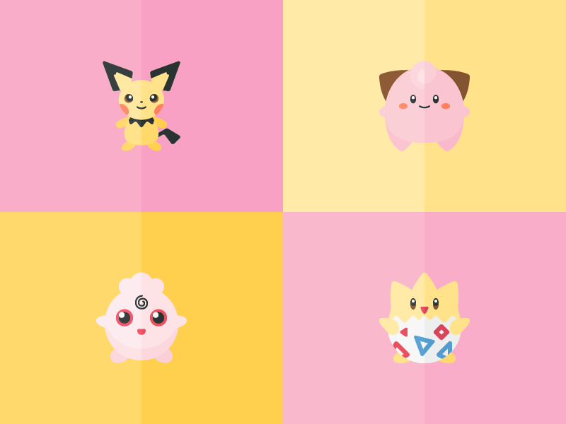 New Pokémon freebies game iconography icons pikachu cleffa pichu togepi igglybuff pokémon