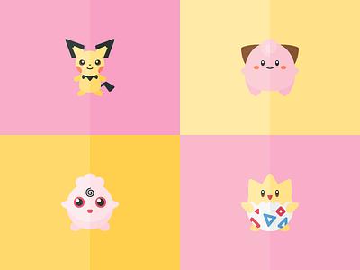 New Pokémon freebies game iconography icons pikachu cleffa pichu togepi igglybuff pokémon