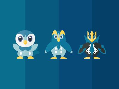 Gen IV Pokémon illustration iconography icon empoleon prinplup piplup pokemon