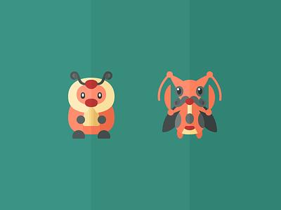 Kricketot and Kricketune illustration kricketune kricketot iconography icons pokemon