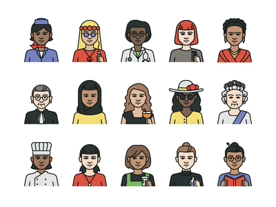 Personified Icons frida illustration people women icon set iconography icons