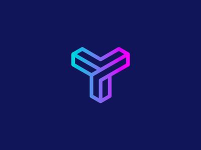 Monogram letter Y typography monogram grid logo grabient flatdesign illustrator cc geometric vector bold logo design