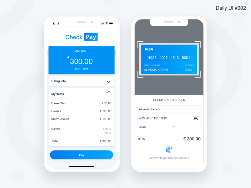 Credit Card Checkout - #002 inspiration identity flat blue art interface design challenge ui daily ui design daily ui