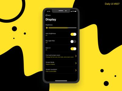 Settings Design - #007 interactive interaction workflow prototype app interface inspiration flat design daily ui black yellow