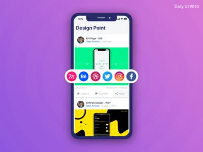 Social Share Design - #010 inspiration fevialmeida flow daily ui daily ui share prototype ux design ux interaction design