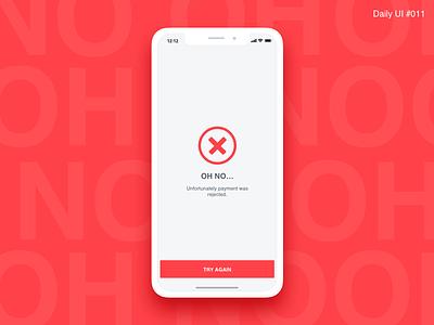 Flash Message Error - #011 design interaction iphone x inspiration error ui daily ui uxdesign simple flat red message