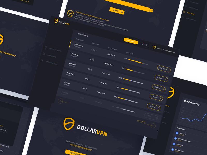 DollarVPN Software Full Design dark ux dark ui dark program installer graphic design ux ui design uidesign uiux software vpn