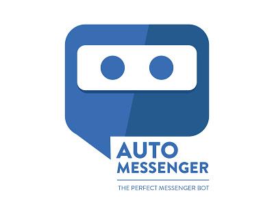 Auto Messenger blue bubble robots robot messenger typography designer typo design branding vector logo