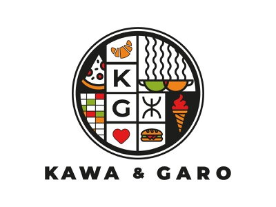Kawa + Garo restaurant food illustration typo designer design branding vector logo