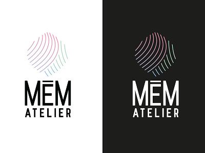 MEM Atelier hair line gradient black illustration typography typo designer design branding vector logo