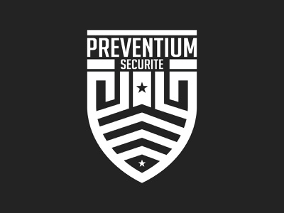 Preventium Securite shield security black typography typo designer design branding vector logo