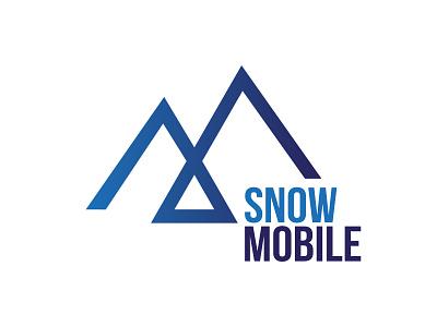 Snow Mobile Logo minimalist mountain winter typography typo designer design branding vector logo