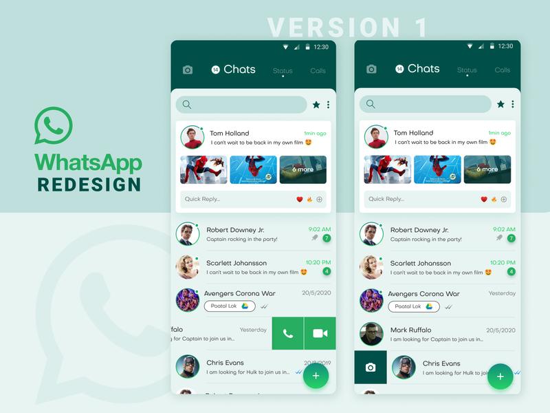 WhatsApp Concept Redesign Version 1 chat messenger swipe gestures minimal conceptual app concept creative design whats new ui ux whatsapp app redesign new trend 2020 design