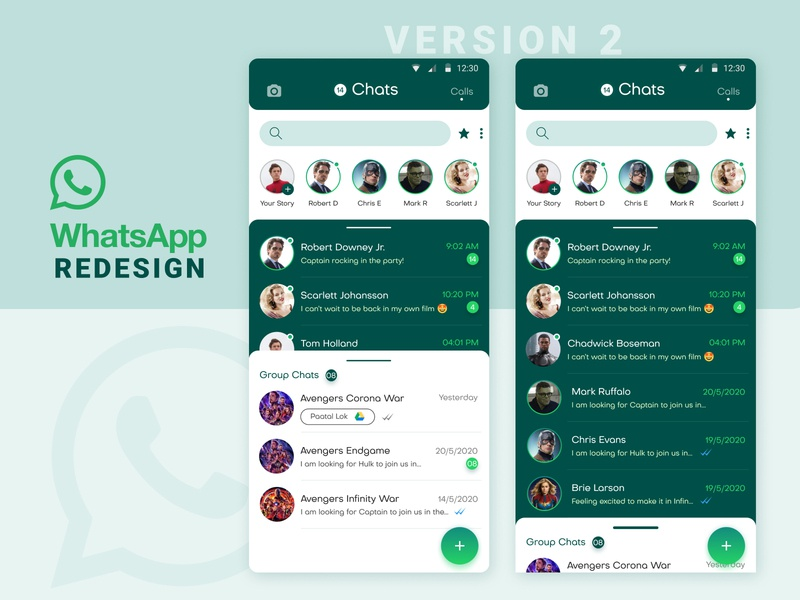 WhatsApp Concept Redesign Version 2 dark theme chat view new trend whats new 2020 trends ui  ux swipe gestures creative design concept app chat messenger minimal conceptual app redesign whatsapp 2020 design