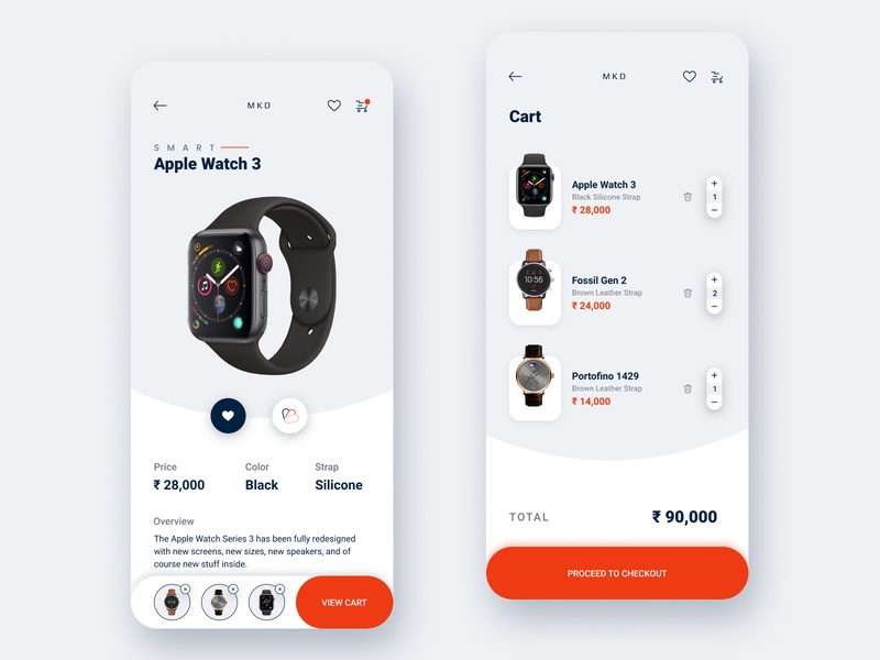Watch E-commerce App Shot smart watch apple watch cart conceptual minimal ui ux app design interaction design clean design clean ui 2020 trend 2020 design mobile app design watch app