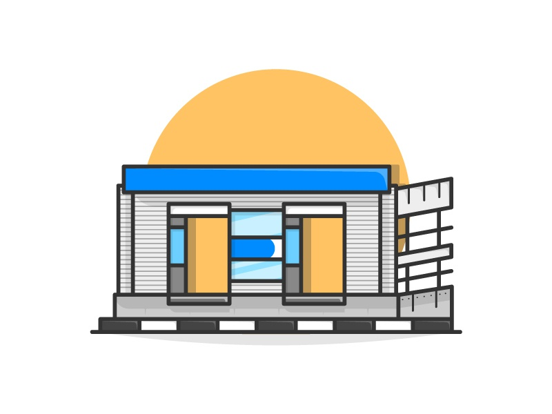 Busway Stop bus station bus bus stop illustration flatdesign building vector construction